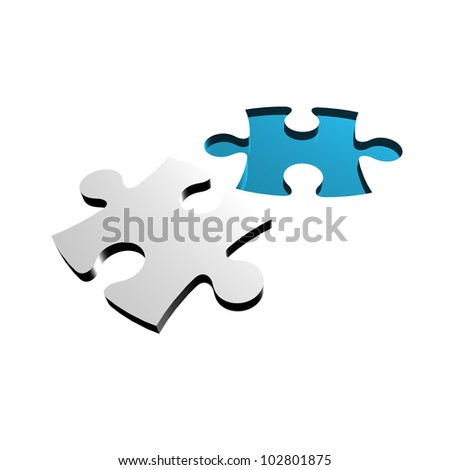 3D Jigsaw Puzzle. Business concept for complete the final missing puzzle piece - stock photo