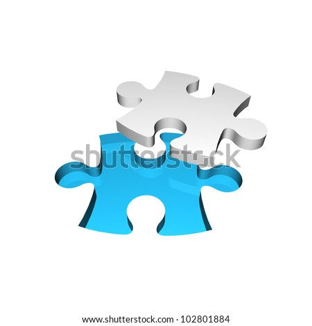 3D Jigsaw Puzzle Business Concept For Complete The Final Missing Piece