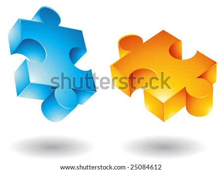 3d Jigsaw puzzle icons - stock photo