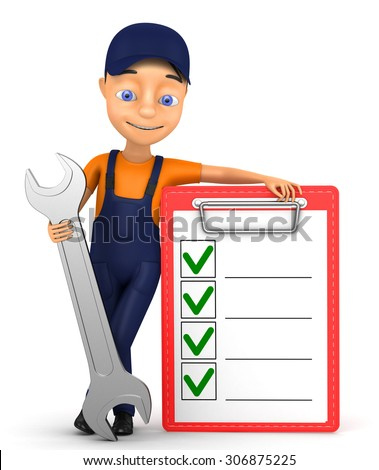 3d jolly mechanic with a tick on a white background - stock photo