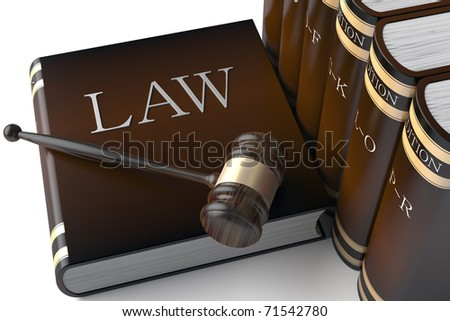 3d Judges gavel and law books - stock photo