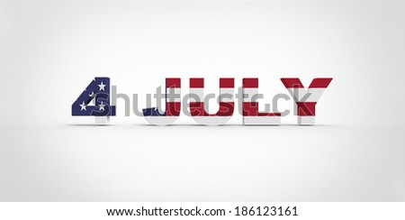 3D 4 July text, with the american flag inside