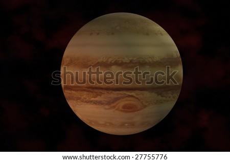 3d Jupiter Rendered On Galaxy Background - stock photo