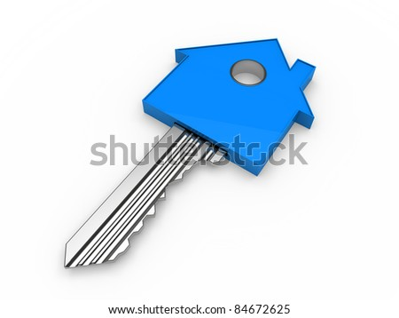 3d key home house blue estate security - stock photo