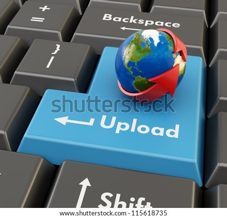 3d keyboard button with globe and red arrow - upload concept - stock photo