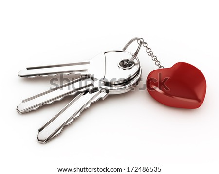 3d Keys with Ring Heart - isolated  - stock photo