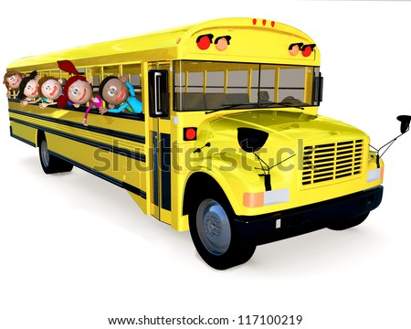 3D kids in a school bus having fun - isolated over white - stock photo