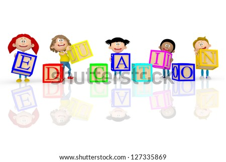 3D kids spelling education with ABC cubes - isolated over white - stock photo