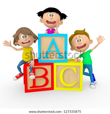 3D kids with ABC cubes looking happy - isolated over white - stock photo