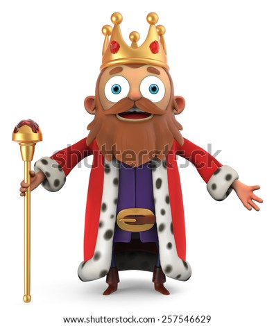 3D King with a scepter  - stock photo