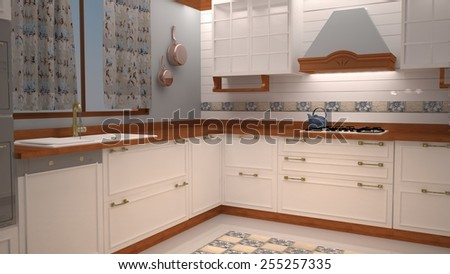 3d Kitchen design artwork  - stock photo