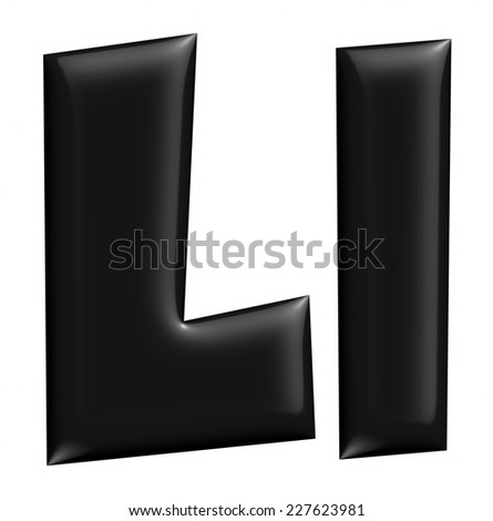 3D L alphabet with small later in black on isolated white background. - stock photo