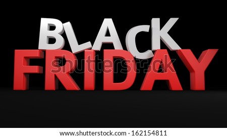 3D label Black Friday on black background - stock photo