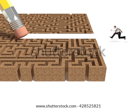 3d labyrinth and pencil eraser - stock photo