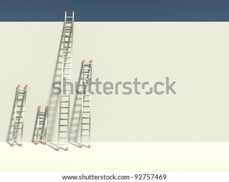 3d ladder of success with empty billboard, business symbol - stock photo
