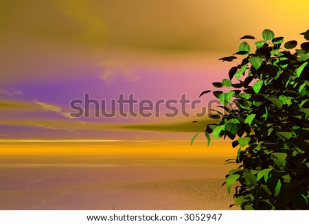3d landscape created by computer, amazing sunset with tree - stock photo