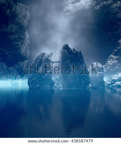 3D landscape Illustration which is observed rock formations in the background of calm water in a dense atmosphere