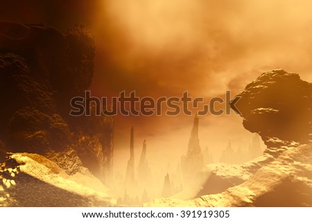3D landscape Illustration which is observed several rocks in a very cloudy atmosphere