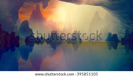 3D landscape Illustration which is observed several rocks on a lake in a very cloudy atmosphere - stock photo