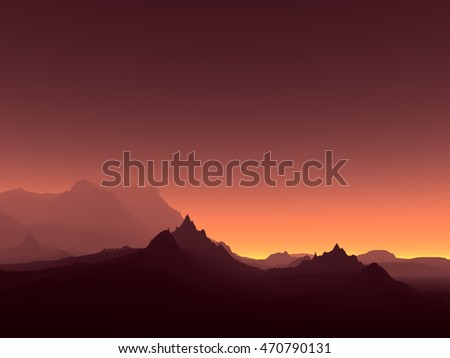 3D landscape Illustration which is observed silhouettes of mountains at dusk