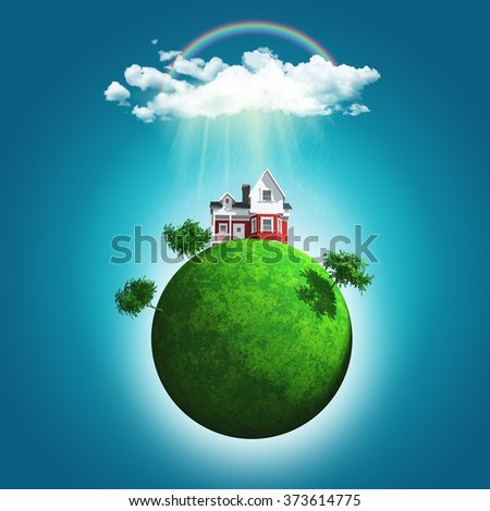 3D landscape of a grassy globe with a house and trees under a rainbow and rain cloud