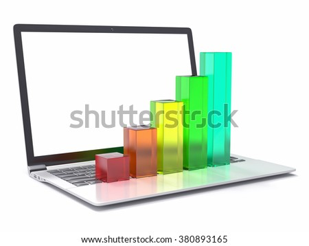 3D Laptop and Bar Graph. Statistics Concept.
