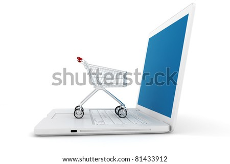 3d laptop and shoppping cart, online shopping concept - stock photo