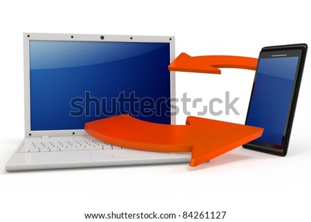 3d Laptop and smartphone communicating via wireless technology on white background