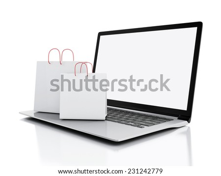 3d Laptop and White Shopping Bags. Online internet concept - stock photo