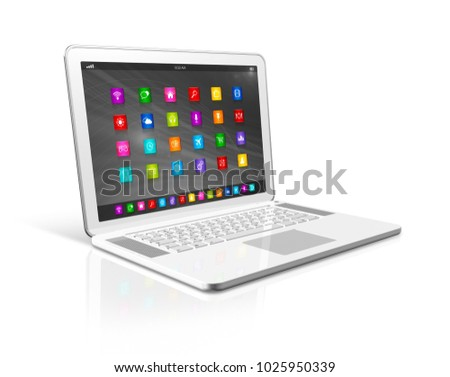 3D Laptop Computer - apps icons interface - isolated on white with clipping path
