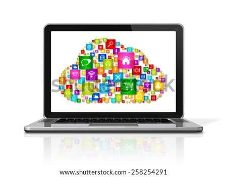 3D Laptop Computer isolated on white with clipping path. Cloud Computing concept - stock photo