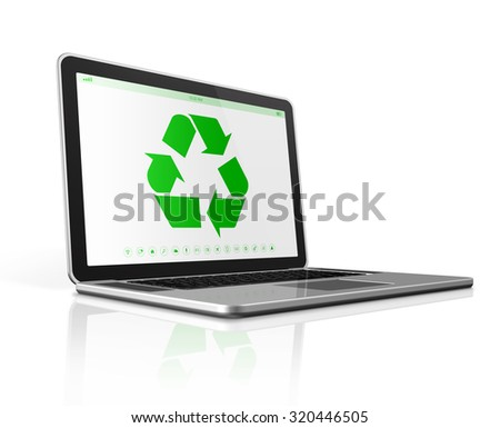 3D Laptop computer with a recycling symbol on screen. environmental conservation concept - stock photo