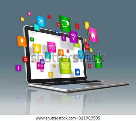 3D Laptop Computer with flying apps icons - isolated on a futuristic background - stock photo