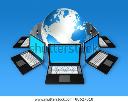 3D laptop computers around a world globe isolated on blue - stock photo