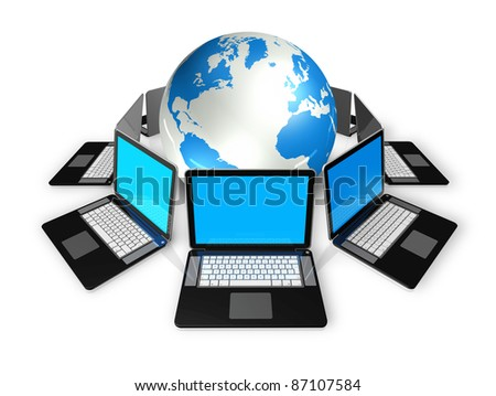 3D laptop computers around a world globe isolated on white