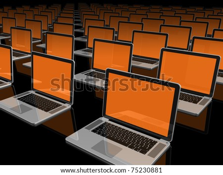 3D laptop computers isolated on black - stock photo