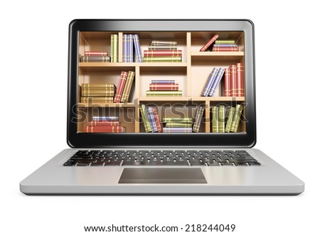 3D Laptop. Digital Library concept. Isolated white background.  - stock photo