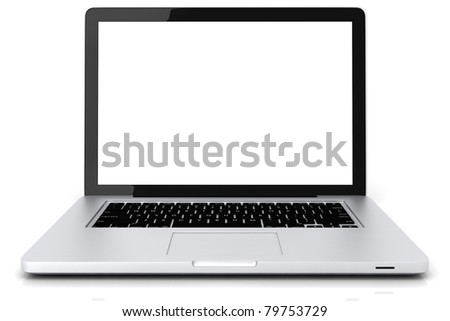 3d laptop isolated on white background - stock photo