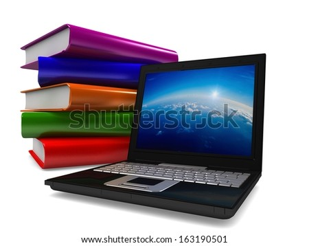 3D-laptop near a stack of colored books