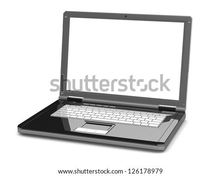 3d laptop. notebook with a blank screen isolated on white background. With space for your text and picture
