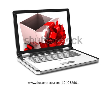 3d laptop. on the laptop screen gift box, isolated on white background