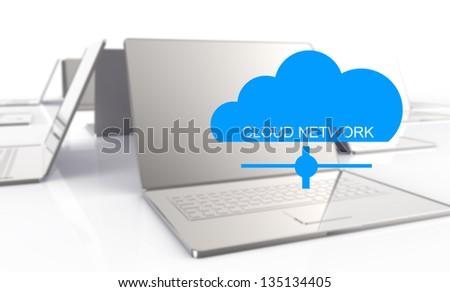 3d laptop showing a cloud as concept of cloud computing graphic design - stock photo