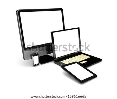 3d laptop, tablet computer, monitor and mobile phone template. isolated on white background - stock photo