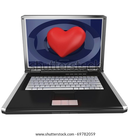 3d laptop with big red heart isolated on white