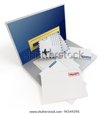 3d laptop with mails on white background - stock photo