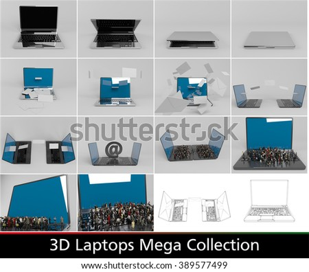 3d laptops collection with many possibilities and with wireframe and characters on laptops, with elegant rendering and reflection. - stock photo