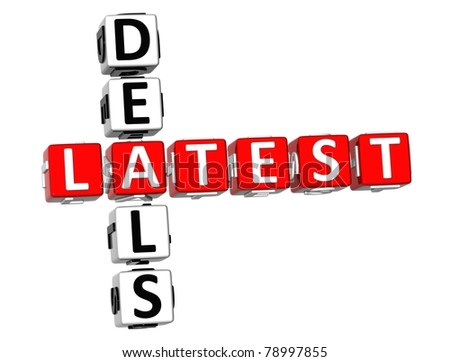 3D Latest Deal Crossword on white background - stock photo