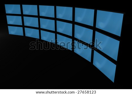 3d lcd monitors with blue screens - stock photo