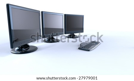 3d lcd monitors with keyboard - stock photo