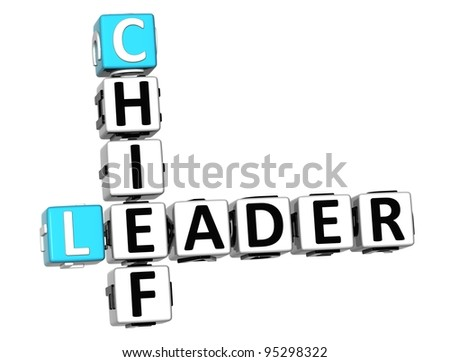 3D Leader Chief Crossword on white background